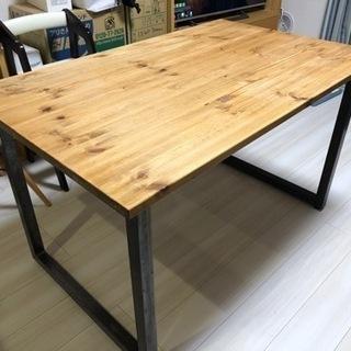 【ネット決済】120×75cm ダイニングテーブル スチールアイアン