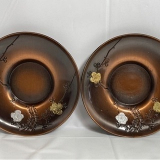 【アンティーク】純銅製★茶托 2枚 梅 金色 銀色 煎茶道具 茶...