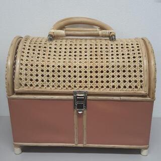 決まりました!ペットキャリーバッグ ラタン ピンク 未使用品