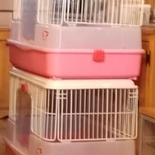 【ネット決済】マルカン ラビットケージ760 ピンク2台 +小物