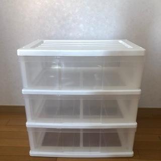 【無料】クリアボックス 透明・3段・横幅広いタイプ