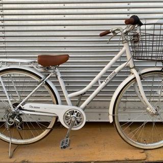 26インチ自転車 ホワイト 6段変速