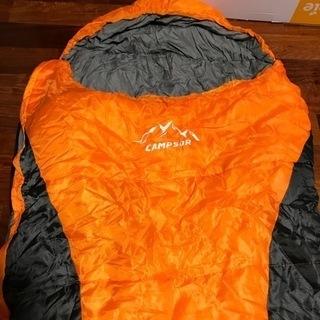 シュラフ 寝袋 マミー型 キャンプ オレンジ 2個 プラス…