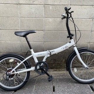 【折りたたみ自転車】20インチ 6段変速 チェーン、サドル…