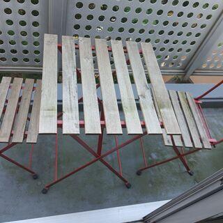 IKEA TARNO テーブル&チェア2脚, アカシア材,…