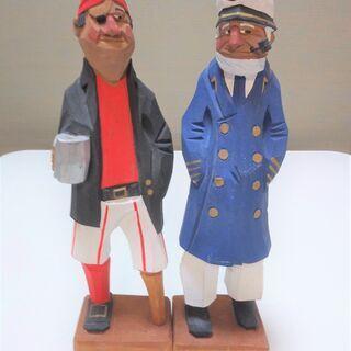 マドロス人形 12インチセーラー人形 木彫り 木製人形 海賊人形...
