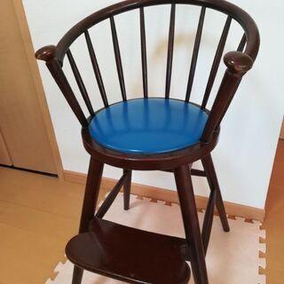 秋田木工 子供椅子 ベビーハイチェア青