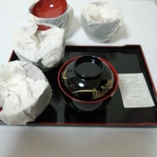 汁椀とお盆のセット 椀5つ 未使用 自宅保管