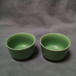★驚愕の0円★ 即決御免 緑のおちょこ2個セット 小鉢とし…