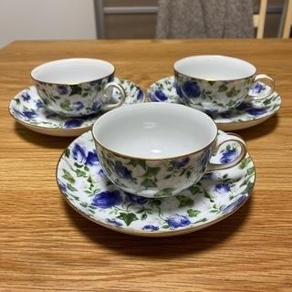 青い薔薇のティーカップ 3個セット