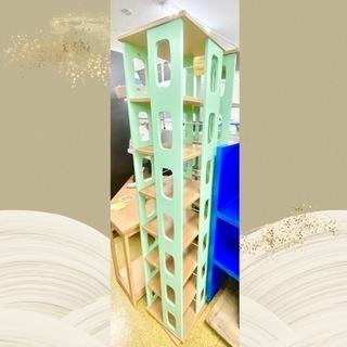 【回転式】マガジンラック 本棚 グリーン★収納家具