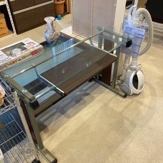 ガラス天板オフィス机&肘付木製チェアーセット