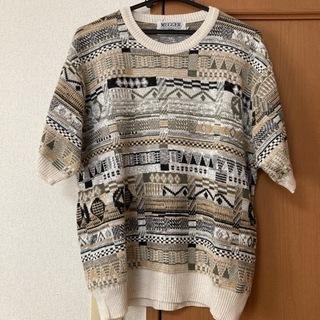 90s US古着 半袖 3Dニット セーター クージー 幾何学