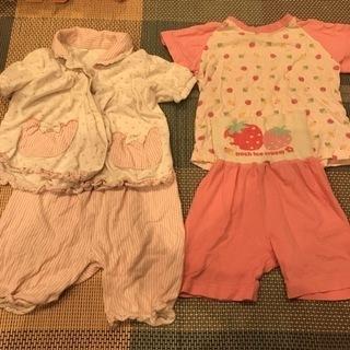 80サイズ 女の子パジャマ2枚セット