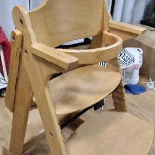 ベビーチェア テーブル付き 木製椅子 安全ベルト付き 高さ…