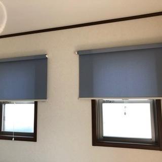 ロールスクリーンカーテン×2 水色