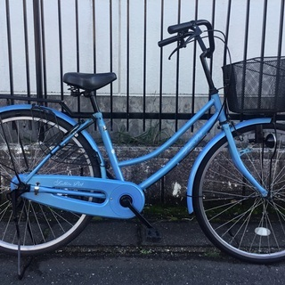 <美品車・整備済>ママチャリ・26インチ自転車・ブルー 鍵…