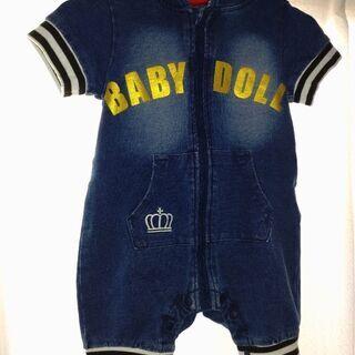 BABY DOLLデニムパーカーロンパース 80