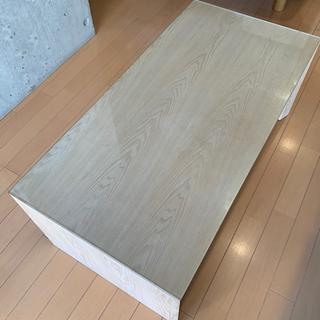 フランフラン テーブル コの字 ガラスウッド木製カフェソフ…