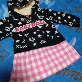 BABY DOLLパーカーワンピース 80