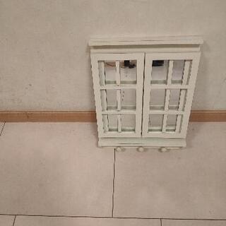 壁掛け窓型ミラー、フック付き