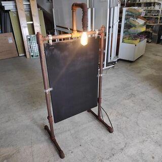 ガス管フレームの黒板看板 LED電球付き インダストリアル…