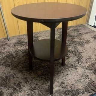 2段のサイドテーブル ブラック 円形