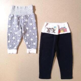 80cm 腹巻付きパンツ パジャマ ズボン 2枚セット 秋…
