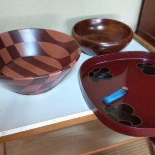 木製のサラダボウルとお盆セット(3点)