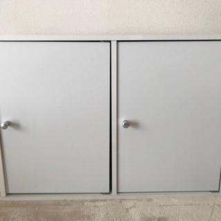 カラーボックス2段扉付き/横置き【中古美品】
