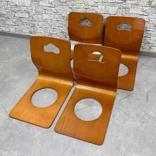 KG-64  座椅子 木製 4脚セット ブラウン
