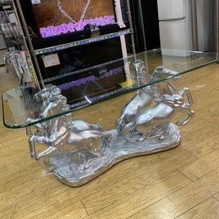 ⭐️ゴージャス⭐️躍動馬彫刻台座 ガラステーブル 参考上代…