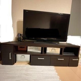 伸縮式 テレビボード 茶