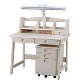 学習デスク トリノ 白 コンセント2口付 木製学習机