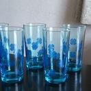 昭和レトロ ブルーが涼しい花柄グラス5個